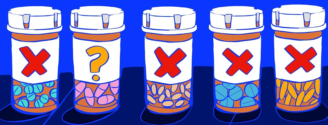 A row of pill bottles with X's or question marks on the labels