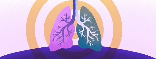 A pair of lungs one with asthma one with lung cancer