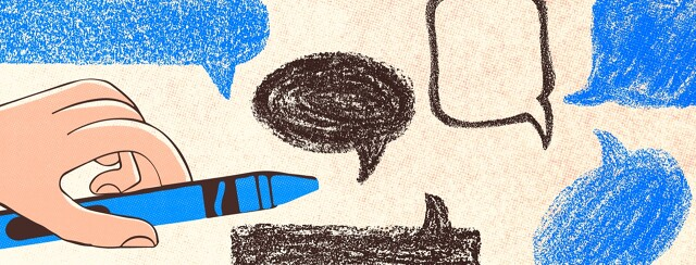 Speech bubbles drawn with a kid's crayon
