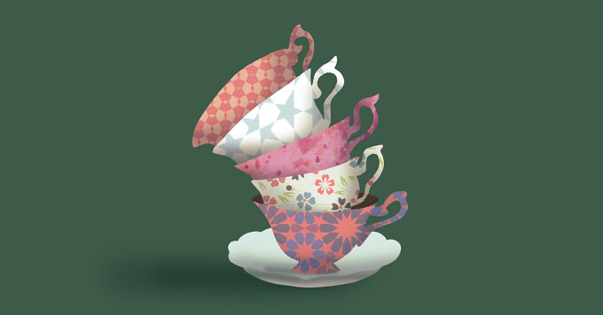 A precarious stack of teacups is about to fall