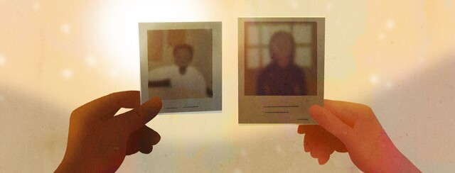 A brown hand and a caucasian hold up old polaroids of family members