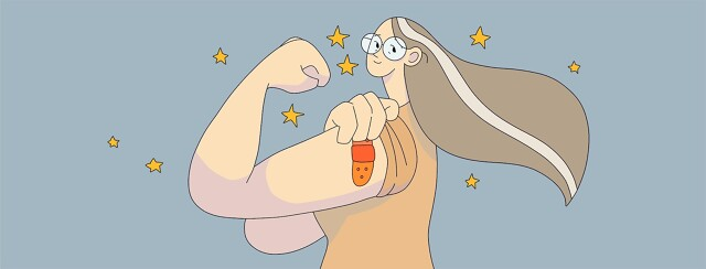 A senior woman posed like rosie the riveter shows off a vaccine bandaid