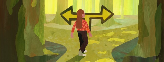 A woman comes to a fork in a forest road