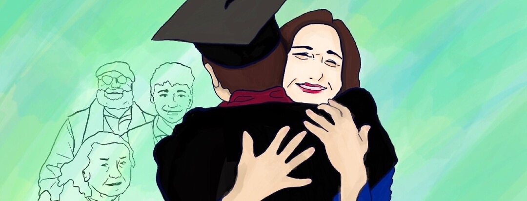 A mother hugs her son at his highschool graduation as family stands behind them