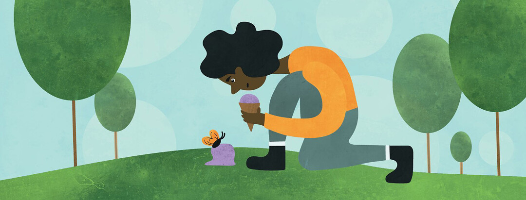 Woman kneeling down over a butterfly, perched on top of a fallen scoop of ice cream from the woman's cone.