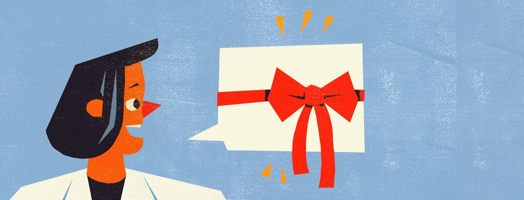 A doctor's speech bubble is wrapped in a gift ribbon