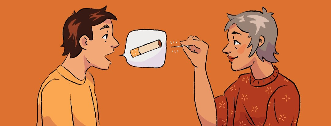 A man asking a woman if she smokes as she gets ready to pop the speech bubble