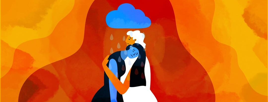 A blue woman with a cloud overhead being embraced