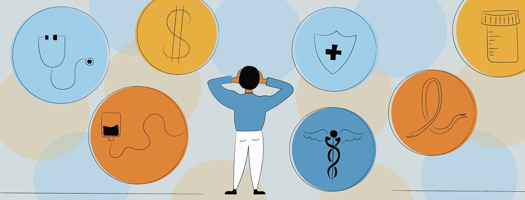 Overwhelmed man looking at circles containing health insurance symbols, medicine, a dollar sign, a stethoscope, and a cancer ribbon